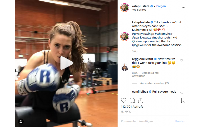 Kate Courtney boxing at RBHQ